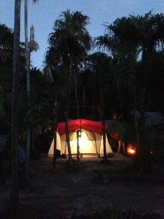 Cenote Encantado: view of room at dusk