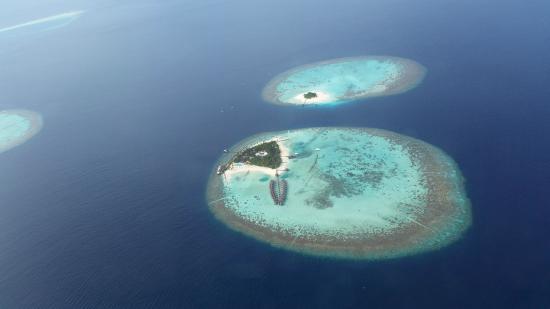 Maafushivaru: Blick aus dem Wasserflugzeug