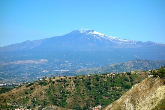 Breakfast view from dining room of Mt Etna... on a clear day!