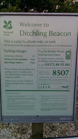 Ditchling Beacon: Car park sign