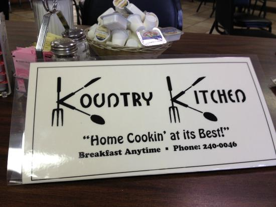 Menu cover - Picture of Kountry Kitchen, Morehead City ...
