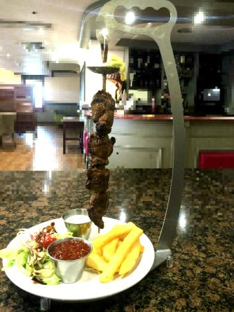 Fairways Hotel : Lamb Espetada Kebab with Homemade Mint Yoghurt