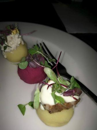 Darwin's on 4th: Causa, different types of root vegetables with toppings such as crab salad and octopus