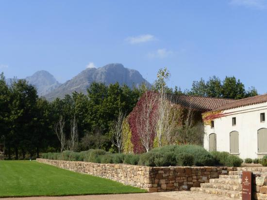 Stellenbosch, África do Sul: The winery sits at the foot of these magnificent mountains