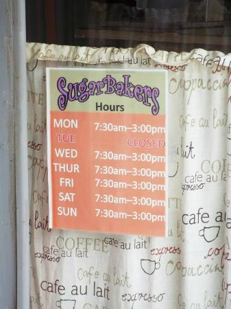 Sugarbakers : business hours