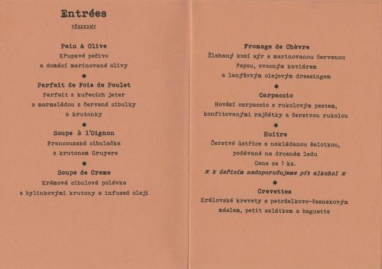 French Restaurant Menu Terms