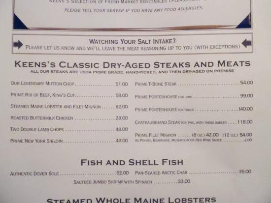 Keens Steakhouse: Steak Menu section
