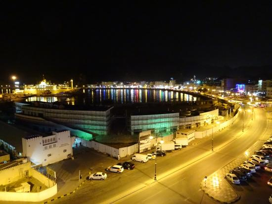 View from Rooftop restaurant at Marina Hotel Mutrah,  over the bay at night