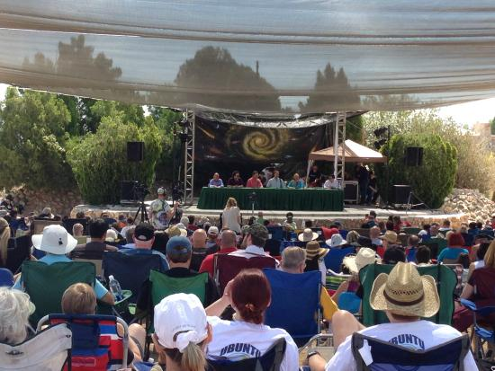 Joshua Tree Retreat Center at the Institute of Mentalphysics : Speaker panel in outdoor auditorium (Contact in the Desert Conference - May 2015)