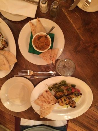 Andalusia : Hummus and Pita and Chicken Kabobs w/ stewed vegetables