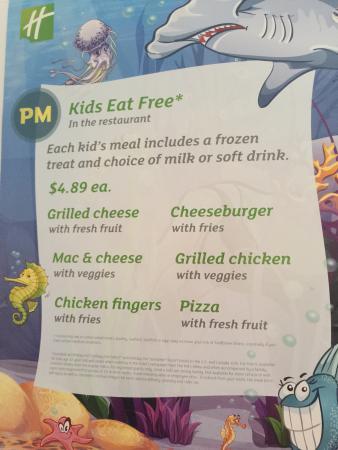 Holiday Inn Lynchburg: Kids eat free?  Goodness No!! I showed my room key and kids meal was ��6.00-