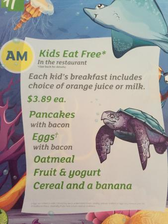 Holiday Inn Lynchburg: I showed room key and did room charge, but Kids meal weren't free.