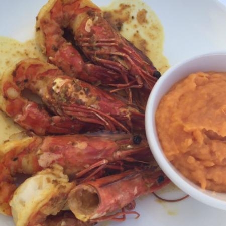 La Plage Keller : Large Prawns with sweet potato mash