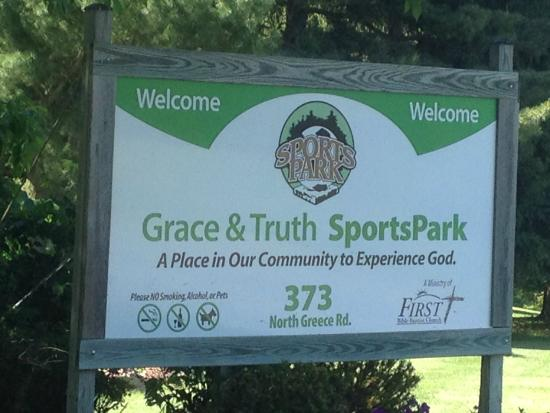 Hilton, NY: Grace & Truth Sports Park - front sign