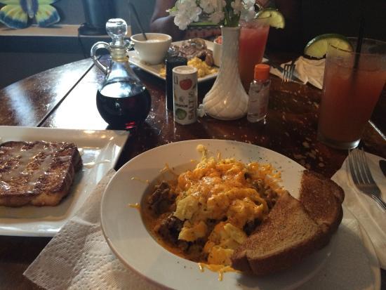 the garden brunch cafe the breakfast bowl cinnamon french toast and fruit tea - Garden Brunch Cafe