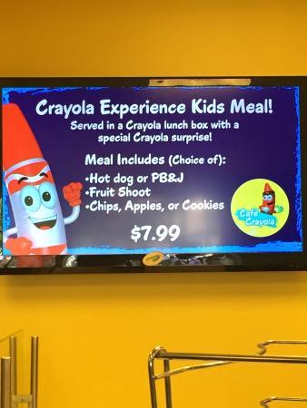 Crayola Experience : Café Crayola menu