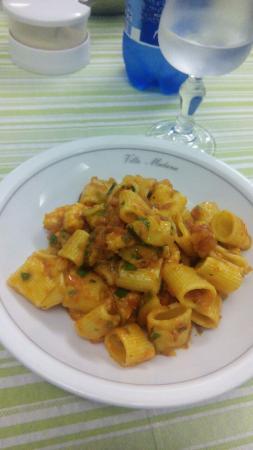 Villa Madana: Zucchine prezzemolo pomodoro gamberetti