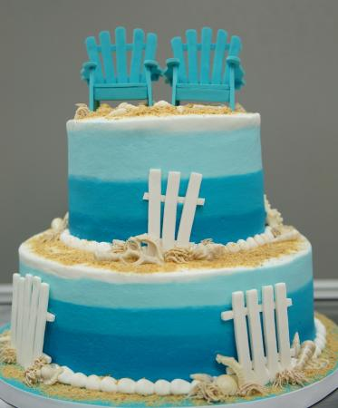 The Bakery Coffee Stop Shades Of Blue Beach Wedding Cake