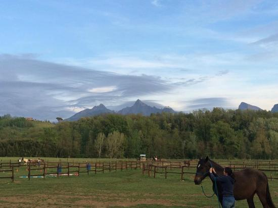 EquiLuna Oasi di Cavalli e Persone: Vista delle Apuane sotto un cielo particolare