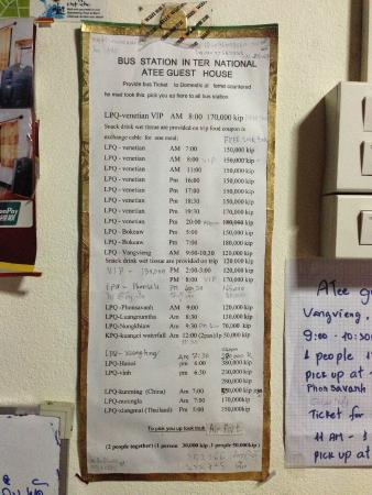A Tee Guesthouse : useful info for bus ticket
