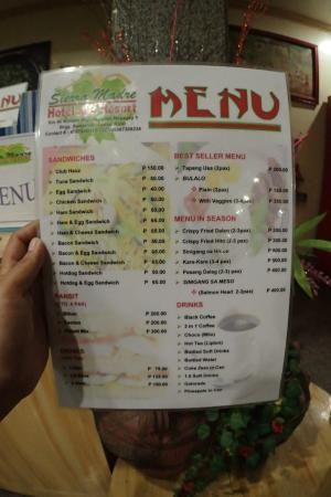 Menu Picture Of The Sierra Madre Hotel Amp Resort Tanay