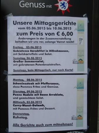 Bettingen, Alemania: Week  lunchmenu