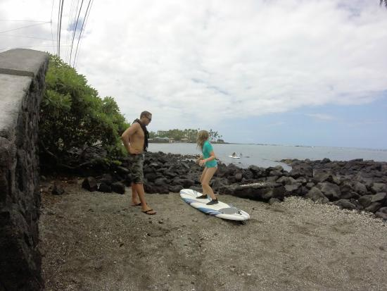 Kona Surf Company: Instructor Austin teaches my ten year old all about stance and safety