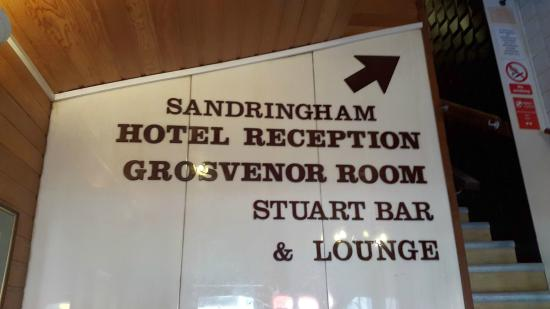 Sandringham Hotel: Reception is on 1st floor