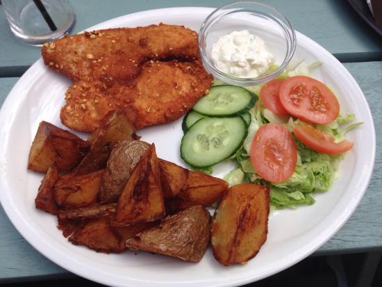 Hertford Heath, UK: Popcorn chicken, potato wedges and salad - off the specials board.
