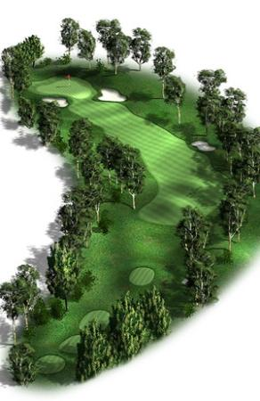 Federal Golf Club: Hole 14, Par 4: A challenging dogleg left requiring two well-hit shots to get there in regulatio