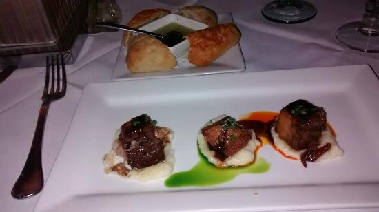 The Black Pearl Restaurant: porkbelly and polenta and ciabatta bread