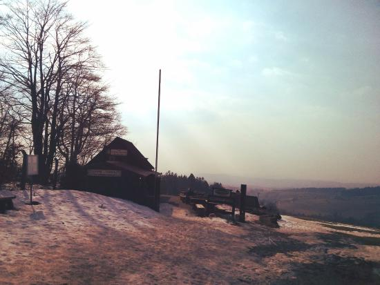 Hoherodskopf: A view of cafe on the top of the vogelsberg mountain