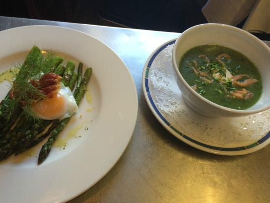 The White House Hotel: Poached Bantom egg, Crisp Capreolus ham, Grilled Asparagus   and  Wild garlic soup