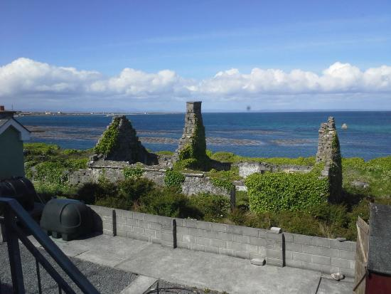 Tigh Fitz: View from room - ruin and ocean...