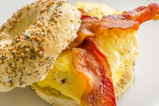 Bagelworks: egg and bacon bagel