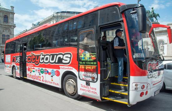 Red Bus City Tours: Most are OPEN-side buses; this one is fully enclosed.
