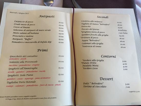 Menù Picture Of Ristorante Gastronomia Belvedere Porto