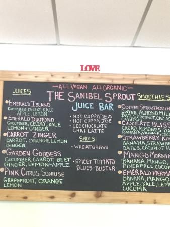 The Sanibel Sprout Drink Menu Picture Of The Sanibel