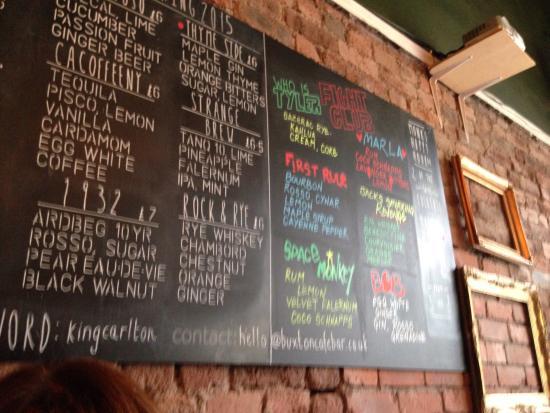 Monk Cocktail Bar: cocktail blackboard