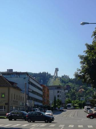 Pension Zillertal: View from across th street (Zillertall is reddish building)