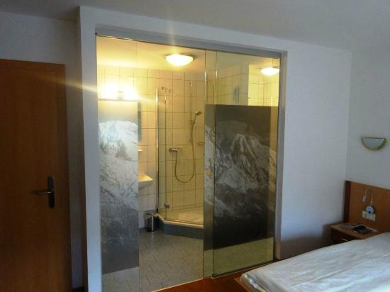 Pension Zillertal: Batroom is separated fom he room with glass pane