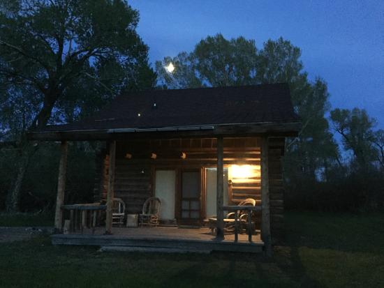 Vee Bar Guest Ranch: Full moon over cabin