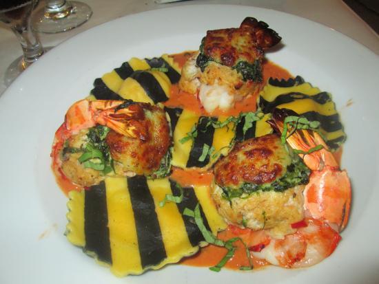Crab Stuffed Shrimp over Lobster Ravioli