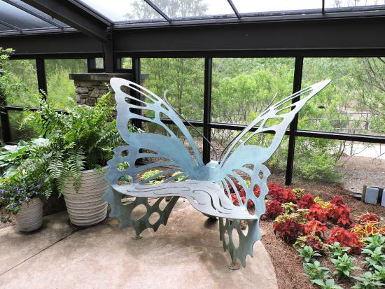 Huntsville Botanical Garden: Awesome Metal Butterfly Bench In Purdy Butterfly  House