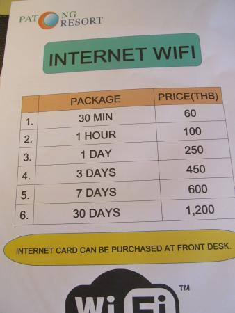 Patong Resort: Crazy wifi charges