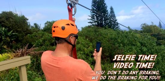 Jungle Zipline: selfie time!! you can take pics and do videos while ziplining