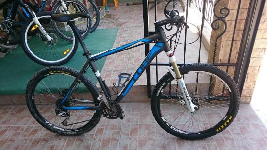 Potos, Greece: my rented bike ready to go at Velo Studios' gate