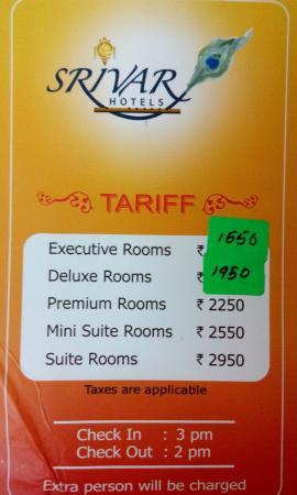 Srivar Hotels Tariff Card