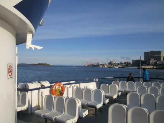 Halifax Harbour Ferry : Looking out the harbour past Georges Island
