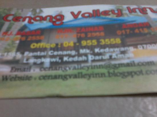Cenang Valley Inn: Muitas formas de contato